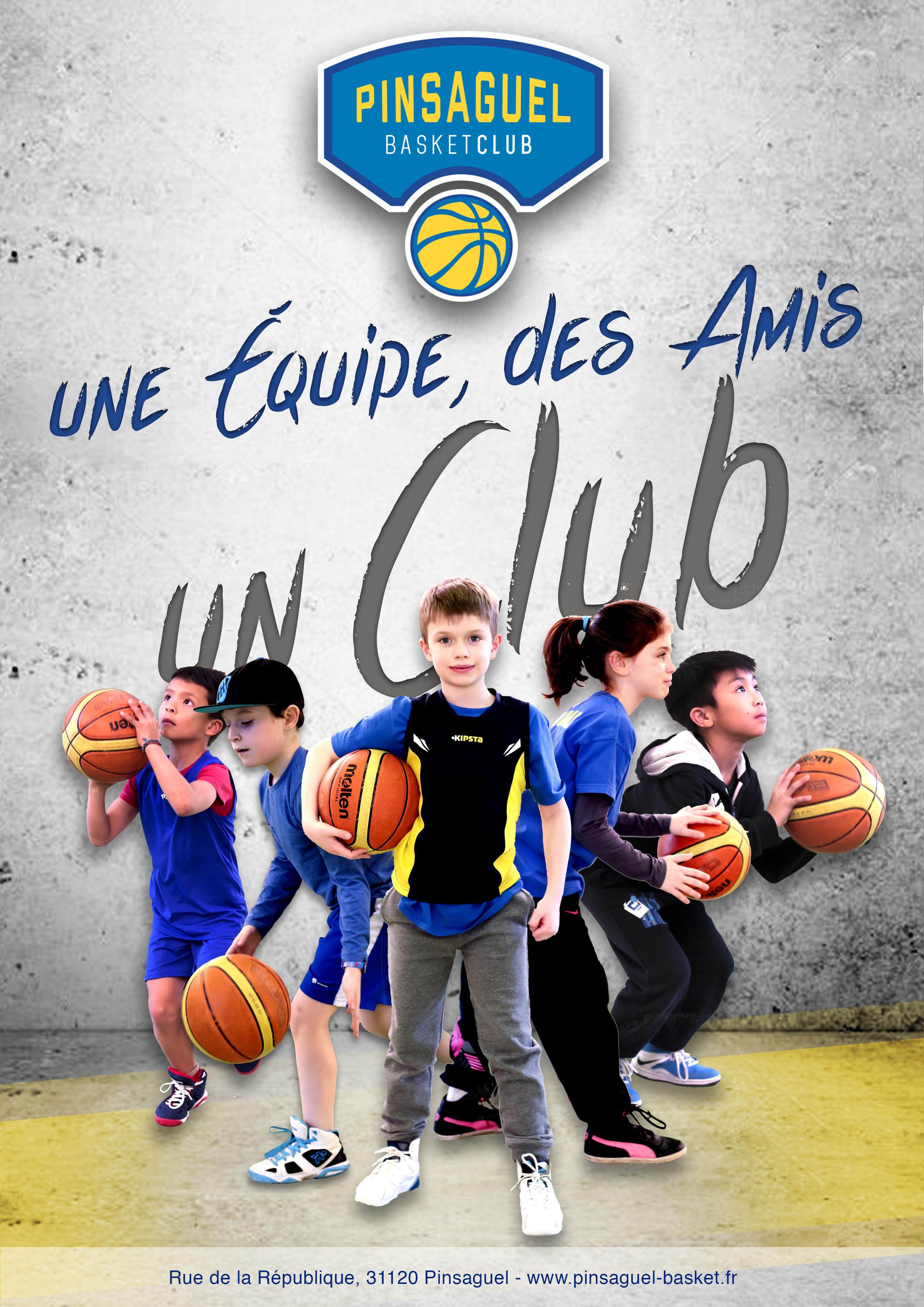 Affiche de présentation du club de basket de Pinsaguel